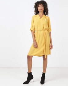 Queenspark Private Label Ghost Crepe Woven Shirt Dress Mustard