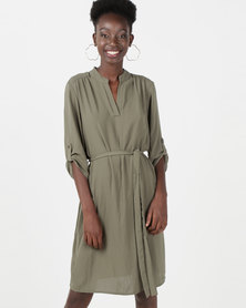 Queenspark Private Label Ghost Crepe Woven Shirt Dress Fatigue