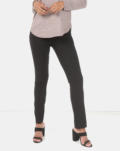 Queenspark Zip Detail Stretch Bengaline Woven Slacks Black