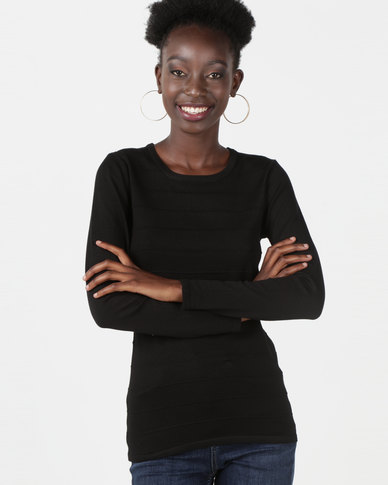 Queenspark Ottoman Core Knitwear Jersey Black