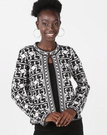 Queenspark Italian Print Jacquard Knitwear Cardigan Black & White