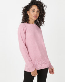 Queenspark Melange Princess Lace Trim Crewneck Jersey Pink