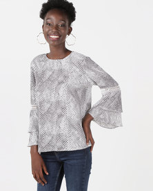 Queenspark Animal Print Woven Blouse Grey
