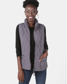 Queenspark Ladies Woven Quilted Zip Through Sleeveless Gilet Charcoal