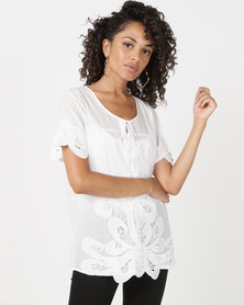 Queenspark Balcony Embroidered Woven Blouse White