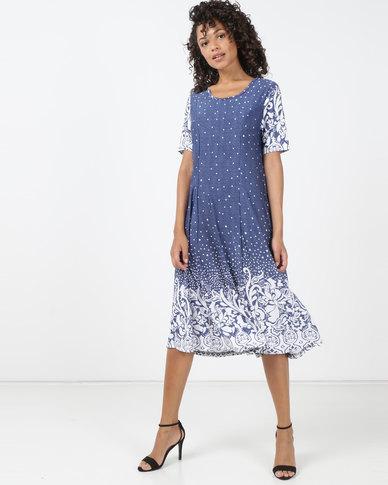 Queenspark Printed Floral Design Short Sleeve Knit Dress Blue
