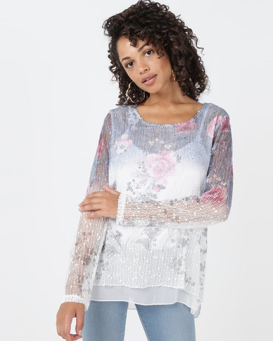 Queenspark Floral Long Sleeve Double Layer Printed Knit Top Blue