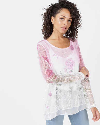 Queenspark Floral Long Sleeve Double Layer Printed Knit Top Pink