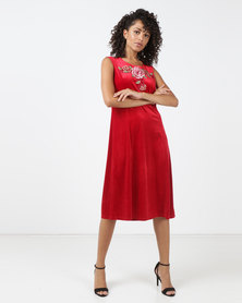 Queenspark Rose Trim Fit & Flare Knit Dress Red