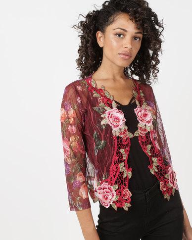 Queenspark Rose Glam Knit Jacket Red