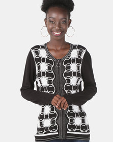Queenspark Glamour Scalloped Knit Jacket Black