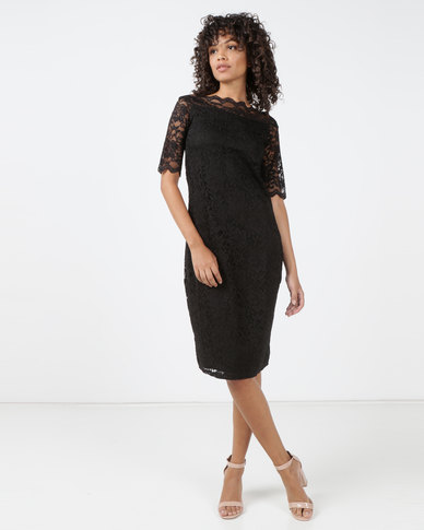 Queenspark Monaco Stretch Lace Woven Dress Black