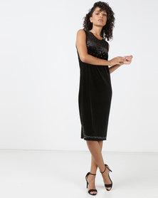 Queenspark Princess Charlotte Velvet Knit Dress Black