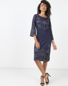 Queenspark Princess Caroline Cornelli Knit Dress Navy