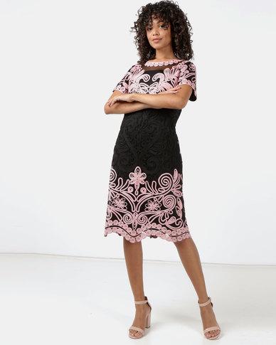 Queenspark Princess Elizabeth Cornelli Knit Dress Black