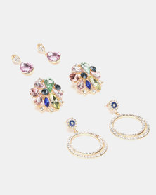 Queenspark Colourful Stud With 2 Drop Earrings Multi