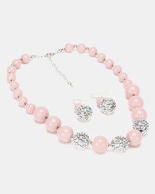 Queenspark Glitter & Plastic Ball Jewellery Set Pink