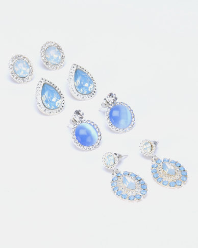 Queenspark Ocean Theme 4PK Earrings Blue