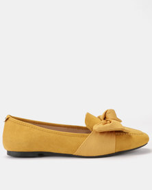 Queenspark Suedette Grograin Bow Moccasins Yellow