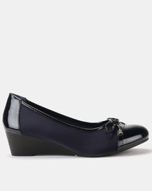 Queenspark Updated Lycra Wedges With Patent Trim Bow Navy