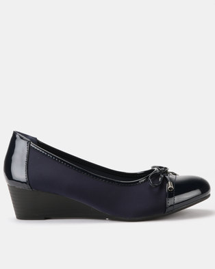 c42f09485587 Queenspark Updated Lycra Wedges With Patent Trim Bow Navy