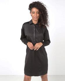 Lila Rose Shirt Dress Black