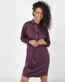 Lila Rose Shirt Dress Plum