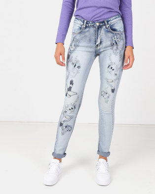 8aa449e91e2e cath.nic By Queenspark Swallow Embroidered Woven Jeans Blue