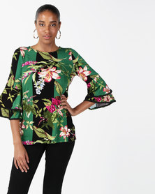cath.nic By Queenspark Oriental Stripe Floral Knit Top Green