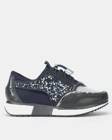 Sissy Boy Stargazer Sneakers With Bling Detail Navy