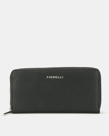 Fiorelli City Large Zip Around Purse Black Cas