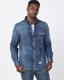 Utopia Acid Wash Denim Shirt Blue