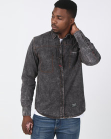 Utopia Acid Wash Denim Shirt Black