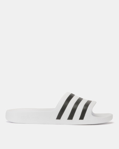 5c67c37ffccc adidas Originals Adilette Aqua Slides White Black