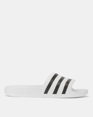 buy popular c8862 ac295 adidas Originals Adilette Aqua Slides WhiteBlack