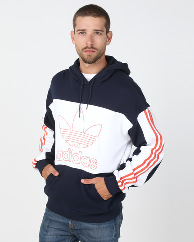 look for amazing selection good texture adidas Originals Outline Block Hoodie Navy/White