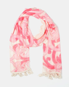 UB Creative Tassel Lurex Scarf Pink