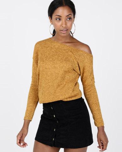 N'Joy Off Shoulder Long Sleeve Top Mustard