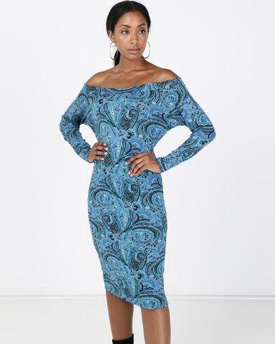 N'Joy Boatneck Mid Length Dress Blue