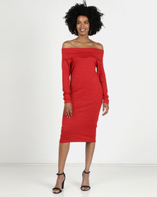 N'Joy Cowlneck Mid Length Dress Red