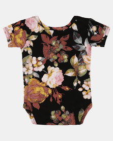 Hannah Grace Floral Romper Black and Pink