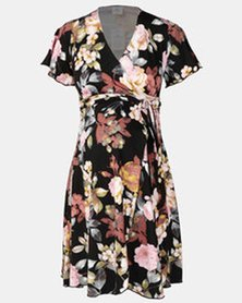 Hannah Grace Maternity Floral Wrap Dress Pink and Black