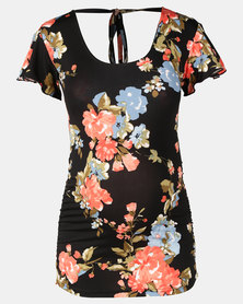 Hannah Grace Maternity All in One Tie Up Top Black and Coral