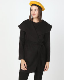 Utopia Melton Shawl Collar Jacket Black
