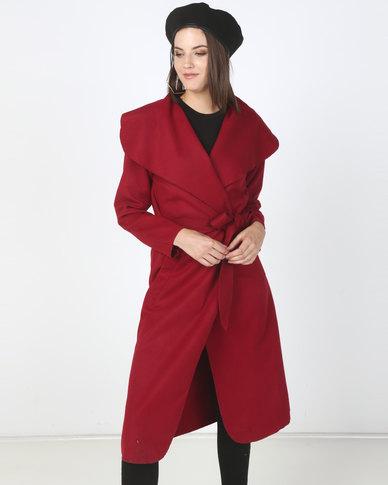 Utopia Melton Shawl Collar Jacket Red