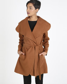 Utopia Brown  Melton Shawl Collar Jacket Brown