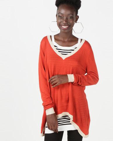 Utopia Knitwear Jumper With Open Back Rust