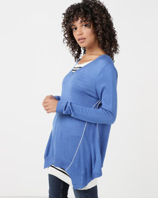 Utopia Knitwear Jumper With Open Back Blue