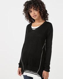 Utopia Knitwear Jumper With Open Back Black/White