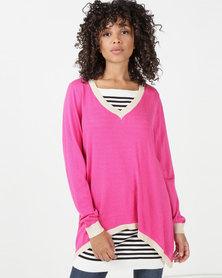 Utopia Knitwear Jumper With Open Back Pink/Beige